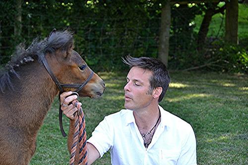 Nick Baker with Dartmoor foal