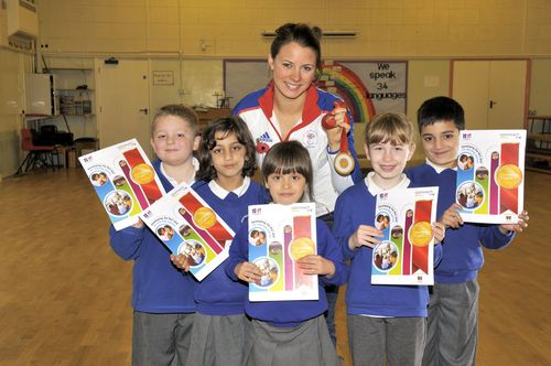Liz Johnson with Northgate School pupils