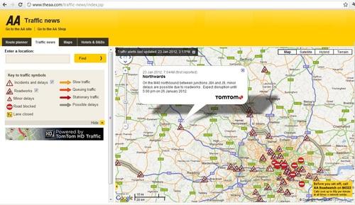 The AA Traffic News website