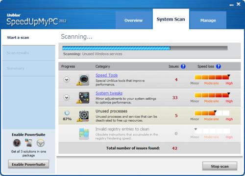 SpeedUpMyPC System Scan