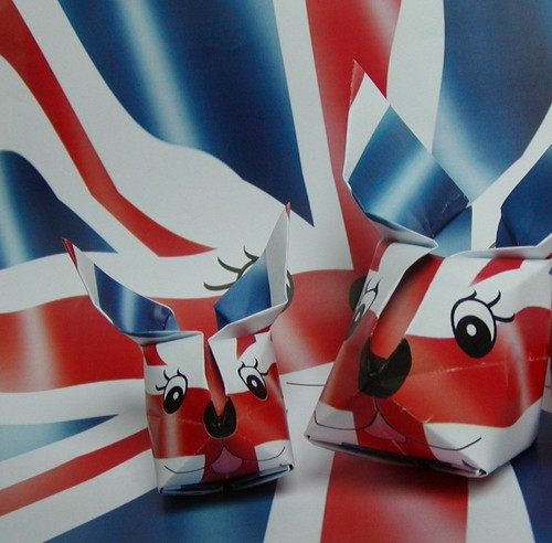 Union Jack Rabbit folds from a flag
