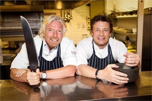 Sir Richard Branson and Jamie Oliver