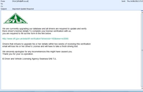 DVLA Email Phishing Scam