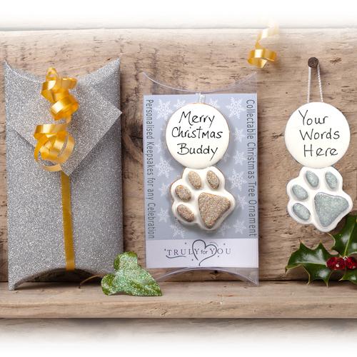 Personalised Pet Xmas Tree Gift Paw Prin
