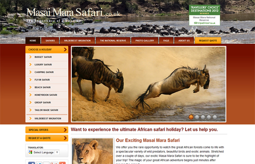 MasaiMaraSafari.co.uk Screenshot