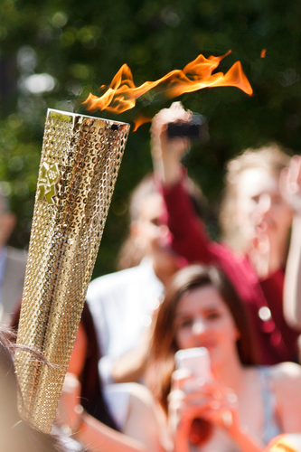 An Olympic torch during the relay