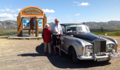 Dorothy and her son at the Arctic Circle