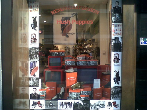 Hush Puppies display at Schuh, Oxford St