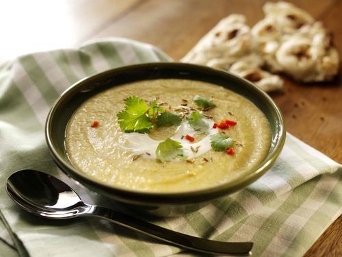Spiced leek potato and lentil soup