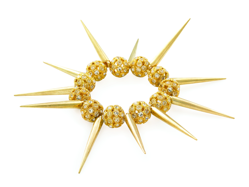 Bling Rocks Gold Spike Xmas Bracelet