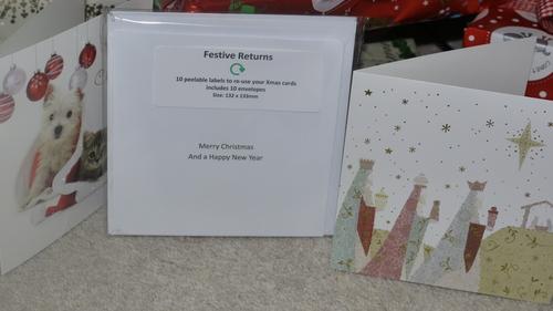 Festive Return labels reuse cards