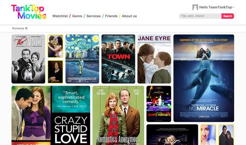 Romance movie choices on Tank Top Movies