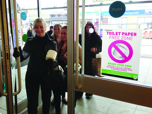 Shoppers armed with their toilet rolls