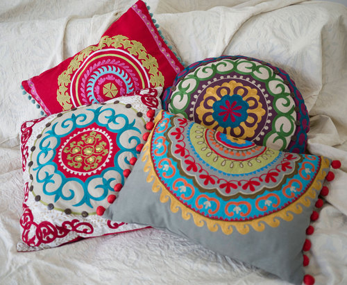 Embroidered cushions from Anandi and Me