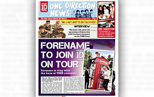 One Direction Personalised Newspaper
