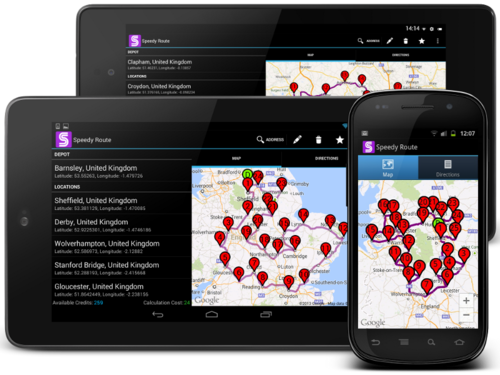 Speedy Route Android App Images