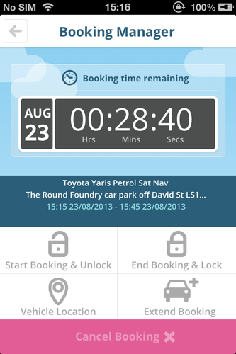City Car Club app booking manager