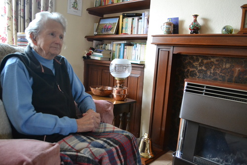 Elderly woman in home without heating.