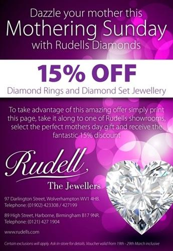 Rudells 15% Off Offer
