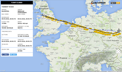 Example Flight Tracking Page