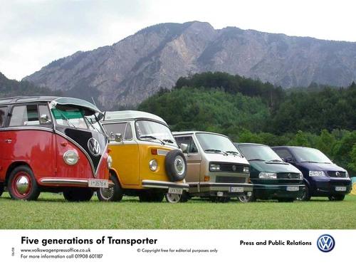 5 Generations of Volkswagen Transporter