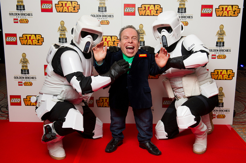 Warwick Davis with Storm Troopers