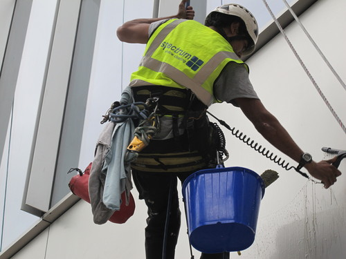Rope Access Operative Cleaning Windows