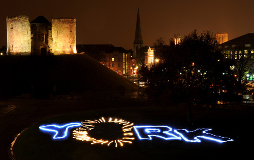 Volunteers write 'York' in light