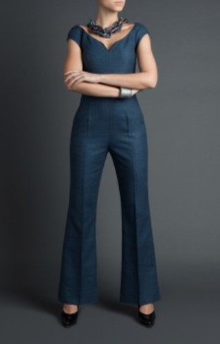 Midnight blue jumpsuit in raw silk