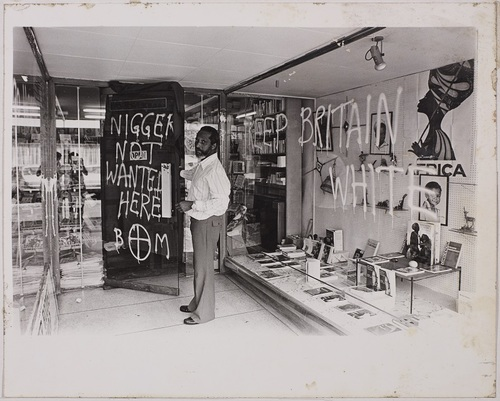 Racist attack on Huntley bookshop, ©LMA