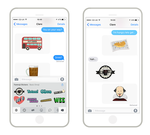 Britmoji stickers in action on iMessage
