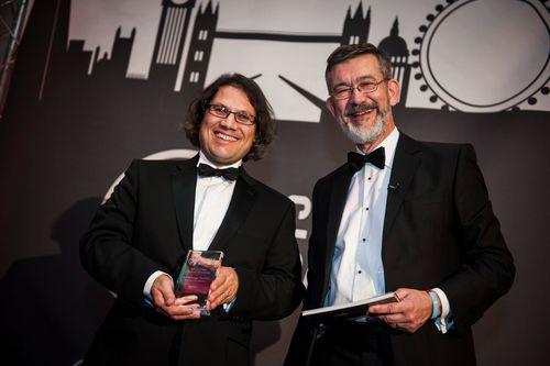 Gavin Beckett at Agile Awards ceremony