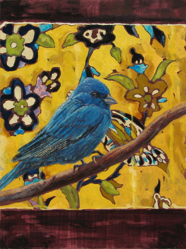 Birds in a Yellow Garden