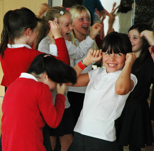 Year 4 children doing Laughter Yoga