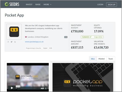 Pocket App Seedrs closed