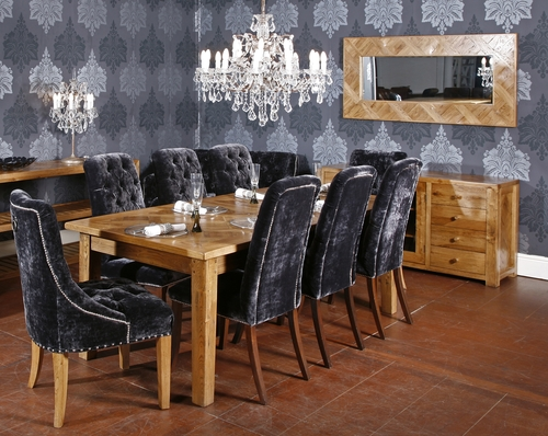 Parquet dining set seats up to 12 guests