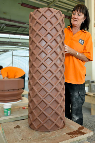 Hand finishing architectural terracotta at Darwen