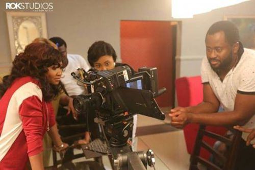 Mary Njoku filming for Rok Studios