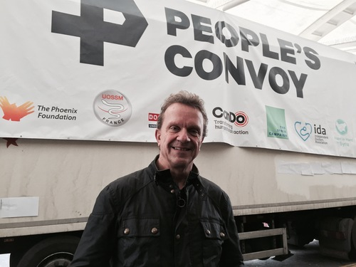 Mark Hannaford with the People's Convoy
