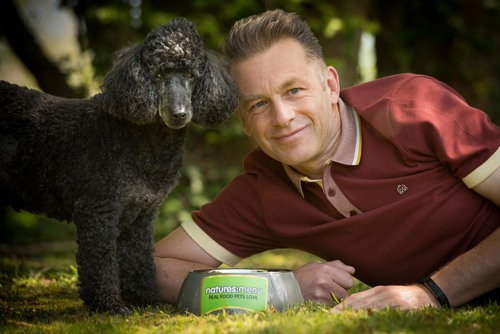 Chris Packham with dog, Scratchy