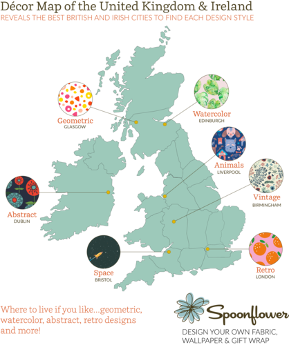 Spoonflower's UK and Irish Decor Map