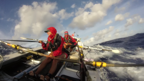 Rowing in stormy seas