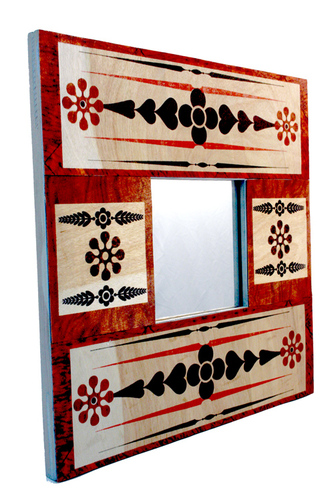 Inkjet wood decorated mirror frame