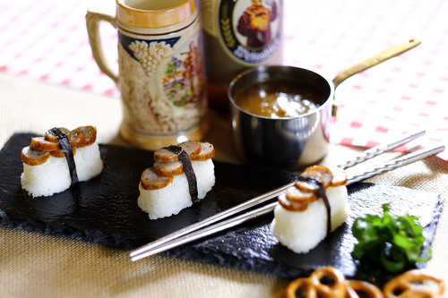 German Bratwurst Nigiri with Katsu Curry