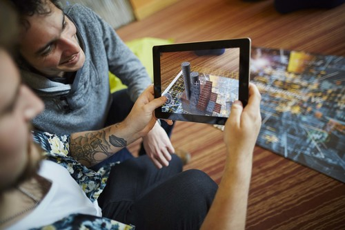 Students with AR app built at Academy