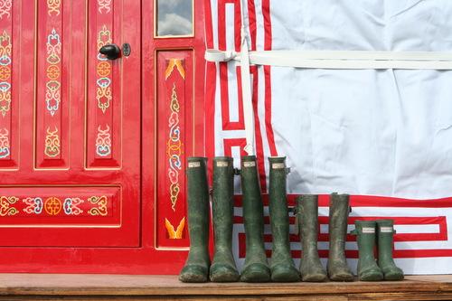 Wellies ready by the yurt door