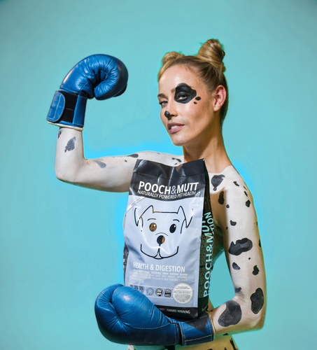 Model body-painted as dalmatian