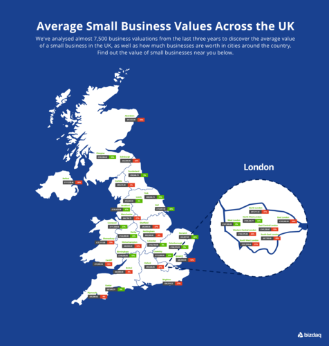 Map showing small business values in UK
