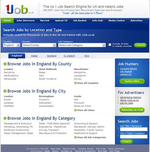 www.1Job.co.uk Homepage