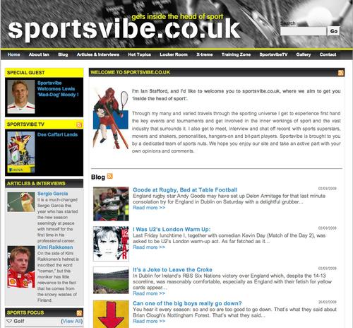 Sportsvibe.co.uk homepage